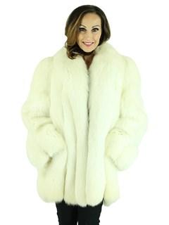 Woman's Natural Shadow Fox Fur Jacket