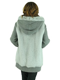 Woman's Sapphire Grey Knit Punch Mink Fur Reversible Sweater with Hood