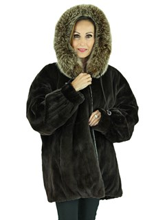 Woman's Dark Brown Sheared Mink Fur Parka Reversing to Leather