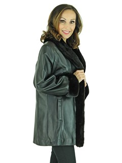 Woman's Black Leather Jacket with Ranch Mink Collar, Cuffs, and Front