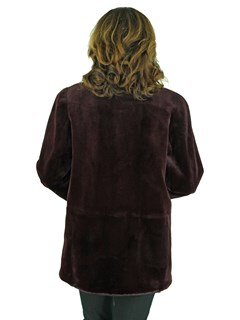 Woman's Burgundy Sheared Mink Fur Reversible Jacket with Traditional Mink Trim
