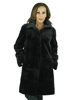 Woman's Black Sheared Mink Fur Reversible Stroller with Diagonal Laser Grooving
