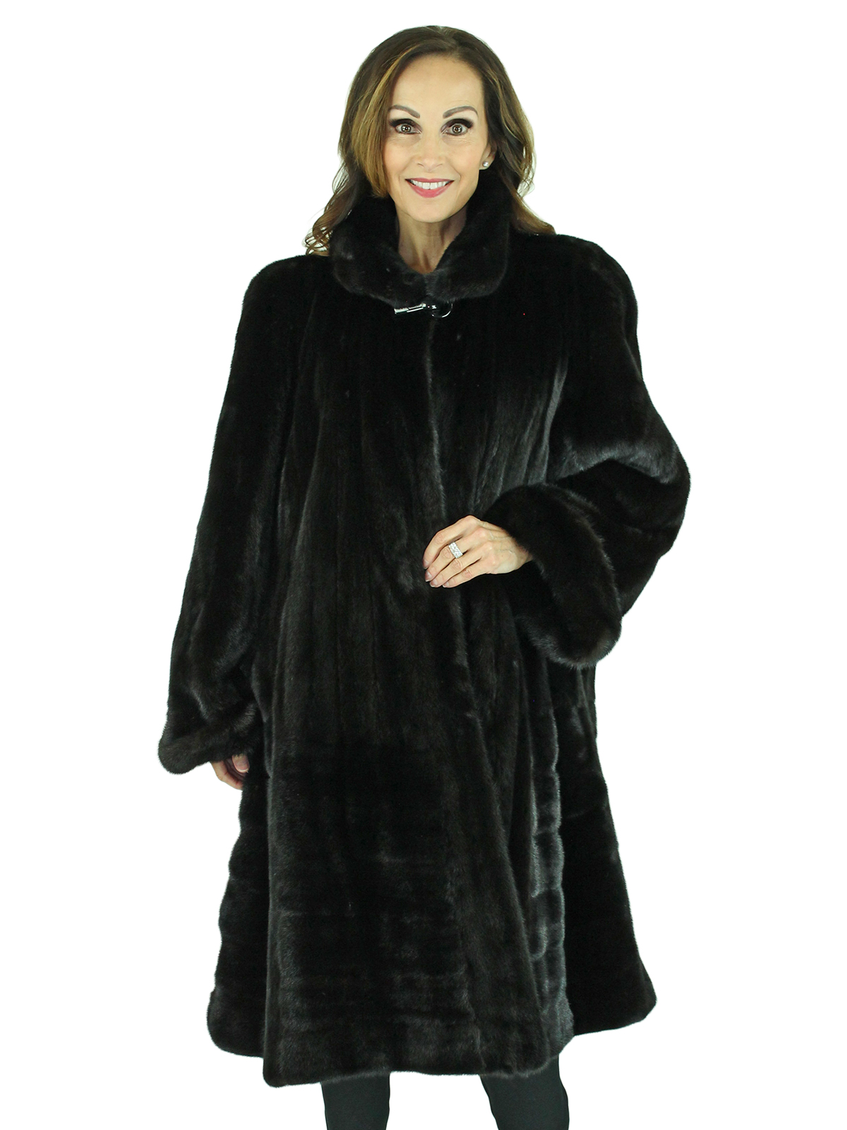 Woman's Plus Size Ranch Female Mink Swing 7/8 Coat with Directional Body
