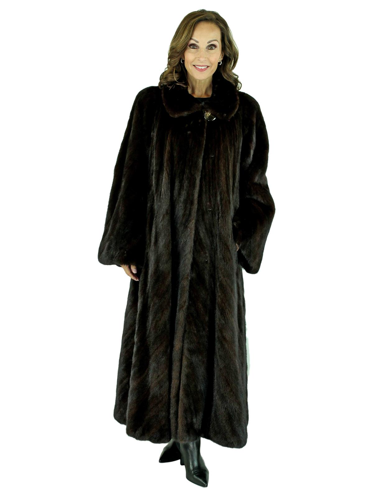 Woman's Mahogany Female Mink Directional Fur Coat