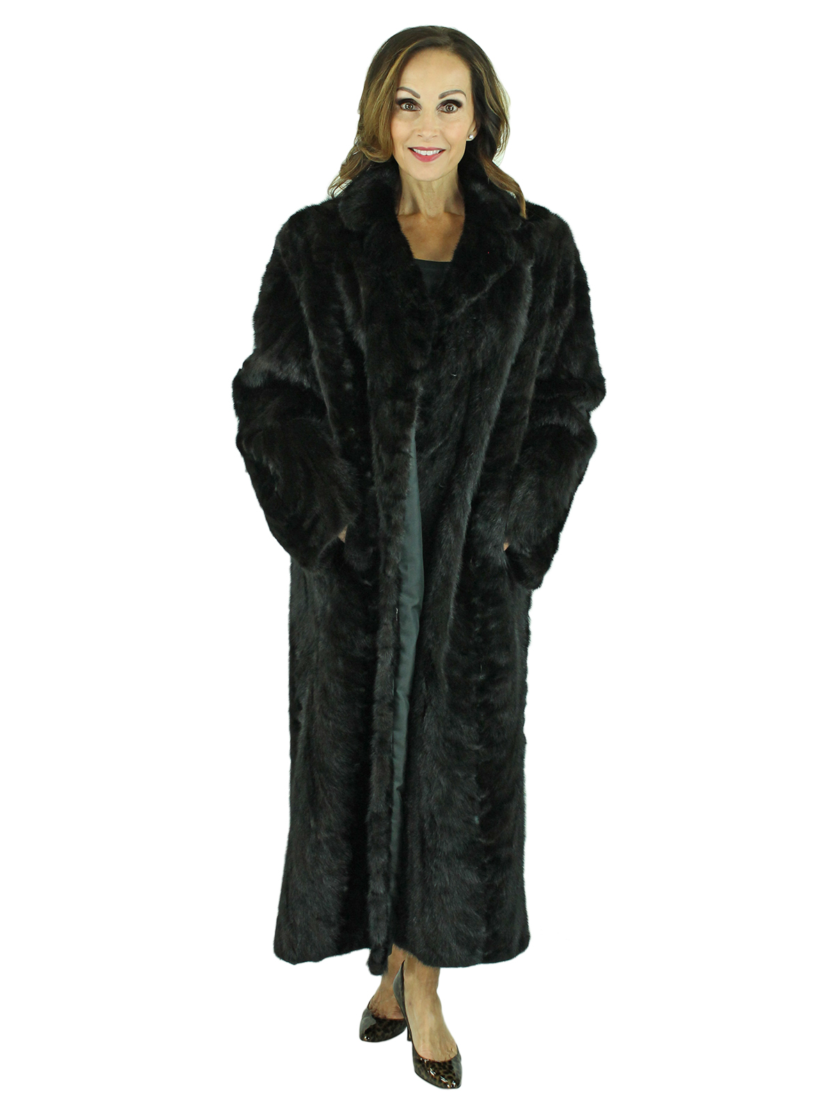 Woman's Sectioned Ranch Mink Fur Coat