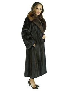 Woman's Deep Mahogany Female Mink Coat with Sable Collar