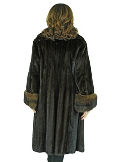 Woman's Ranch Female Mink Fur 7/8 Coat with Sable Cuffs