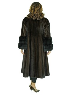 Woman's Mahogany Female Mink Fur Coat with Dyed Sable Cuffs