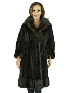 Woman's Dark Mahogany Female Mink Fur 7/8 Coat