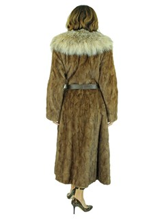 Woman's Lunaraine Sectioned Mink Fur Coat with Canadian Lynx Collar