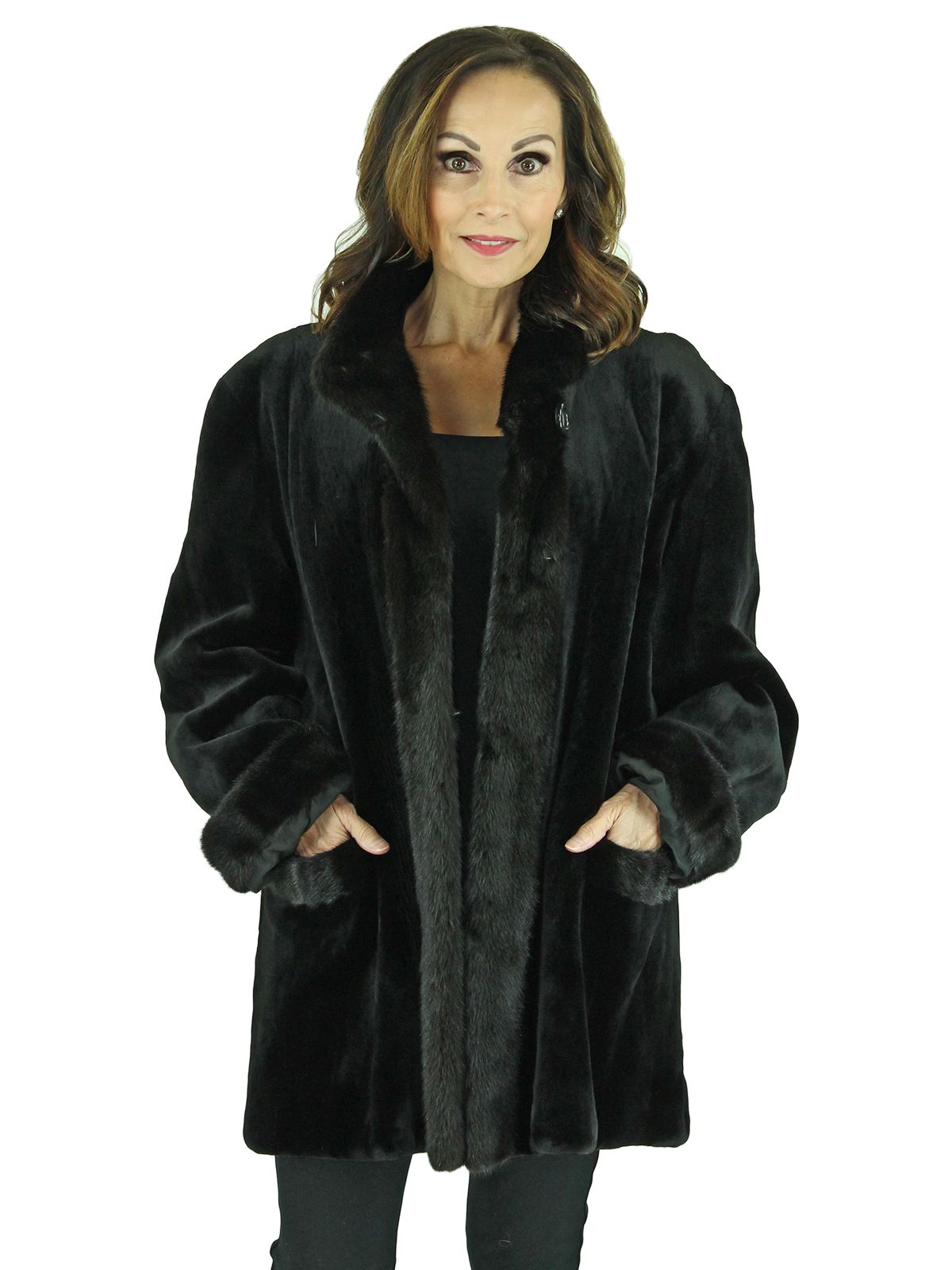 Woman's Black Sheared Mink Fur Jacket with Traditional Mink Trim, Reversible to Rain Fabric