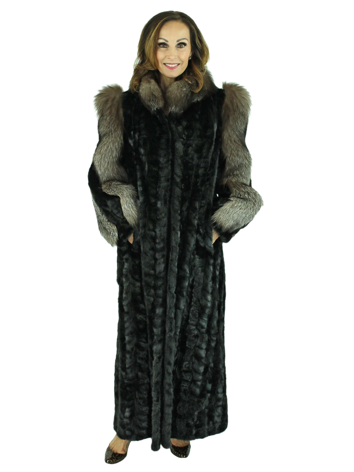 Woman's Ranch Sectioned Mink Fur Coat with Indigo Fox Trim