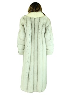 Woman's Blue Fox Fur Coat with Shadow Fox Trim
