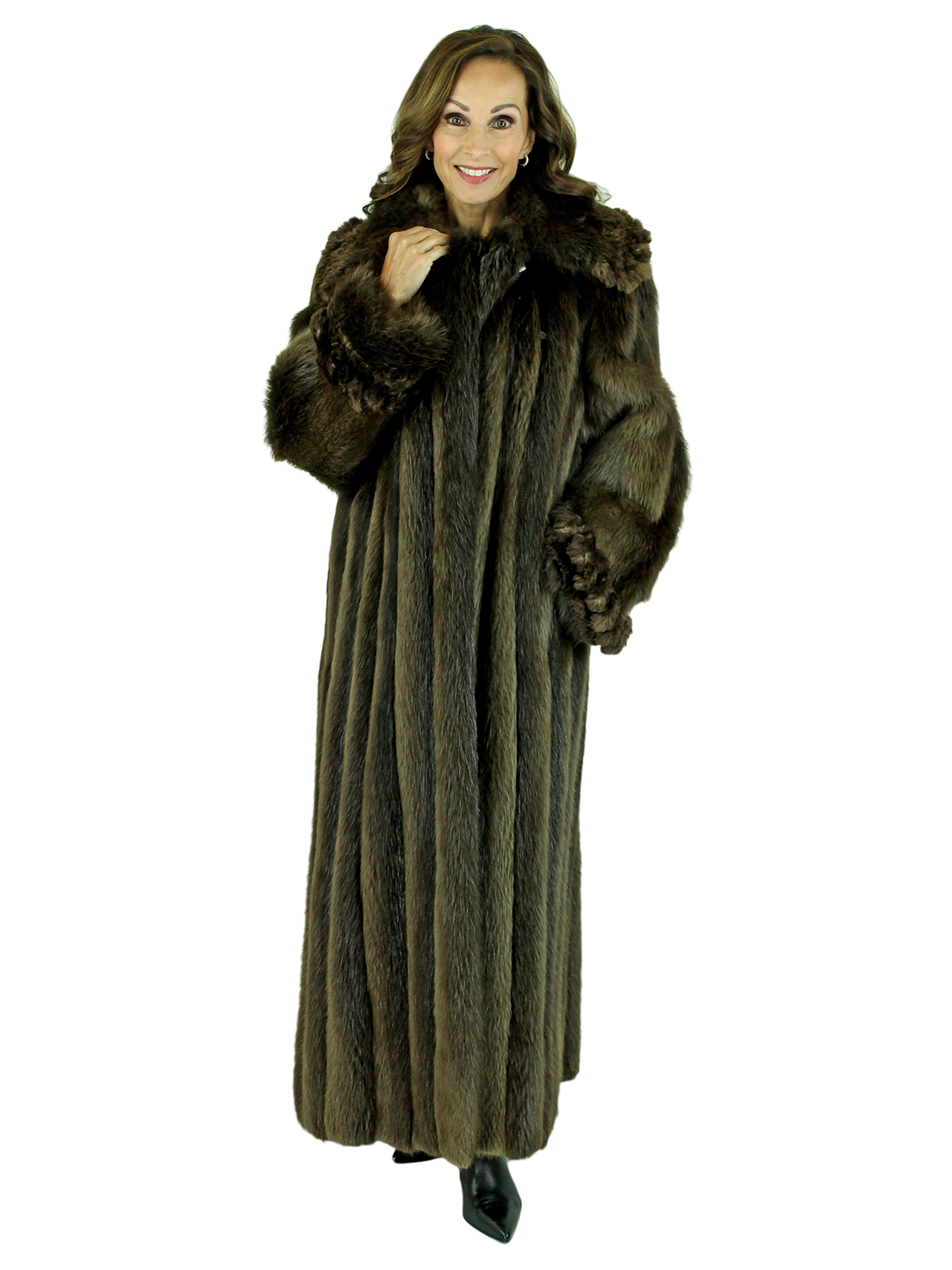 Woman's Jean Crisan Beaver Fur Coat with Sheared and Knit Beaver Trim