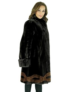 Woman's Dark Brown Sheared Beaver Fur Swing Stroller