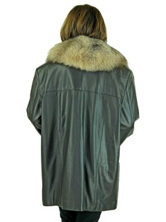 Woman's Brown Leather Jacket with Crystal Fox Detachable Collar
