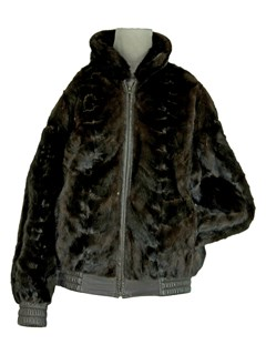 Man's Sectioned Mahogany Mink Fur Jacket Reversing to Leather