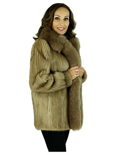 Woman's Pastel Cord Cut Mink Fur Jacket with Fox Tuxedo Front