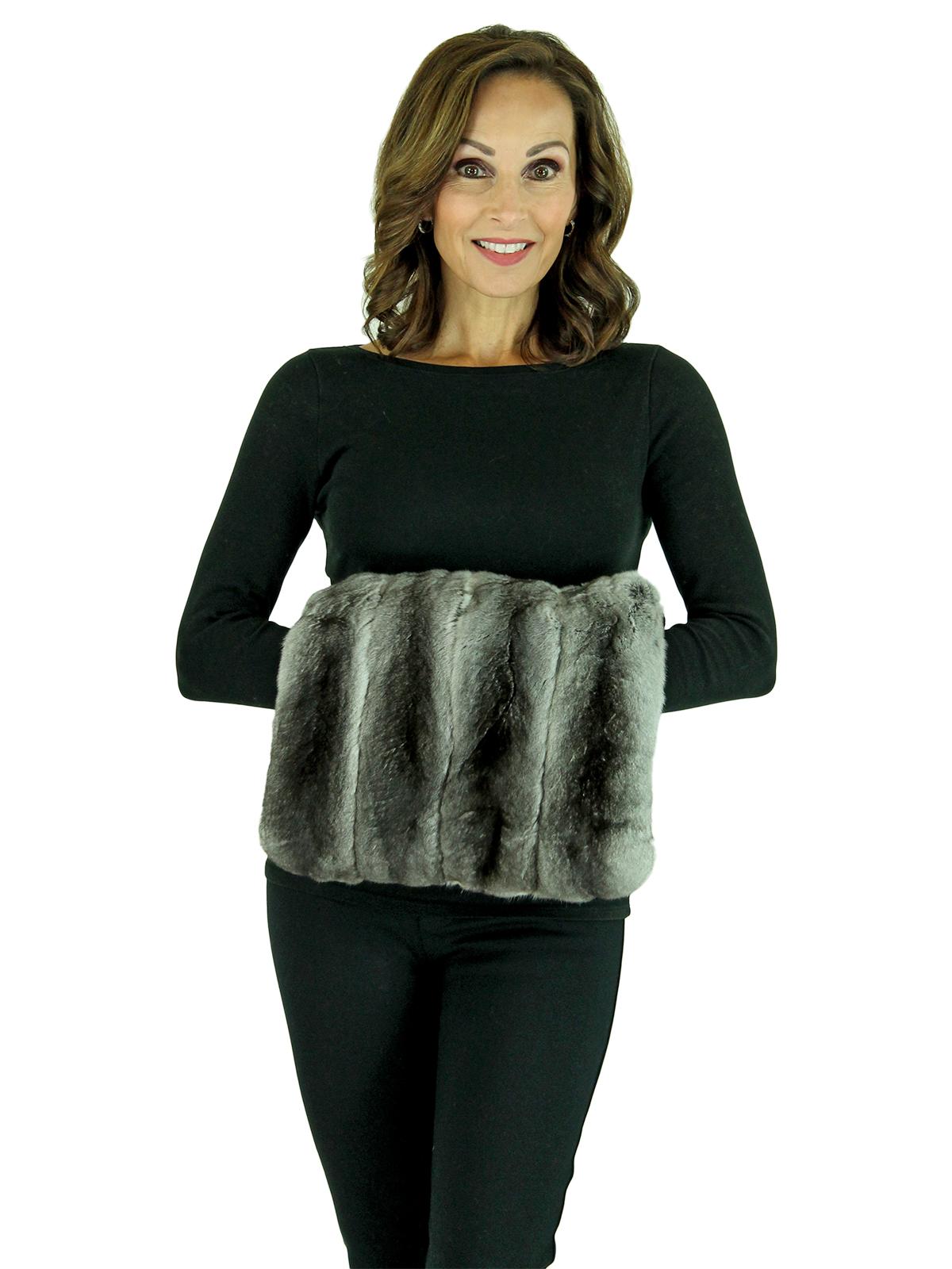 Woman's Flat Chinchilla Fur Muff with Fabric Back