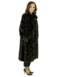 Woman's Plus Size Mahogany Sheared Sculptured Mink Fur 7/8 Coat with Headband