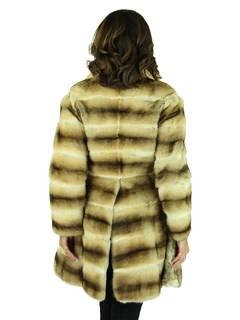 Woman's Beige Mink Fur Horizontal Cut Stroller