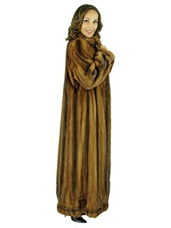 Woman's Whiskey Mink Fur Coat with Directional Scalloped Hemline