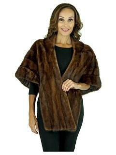 Woman's Vintage Mahogany Female Mink Fur Stole