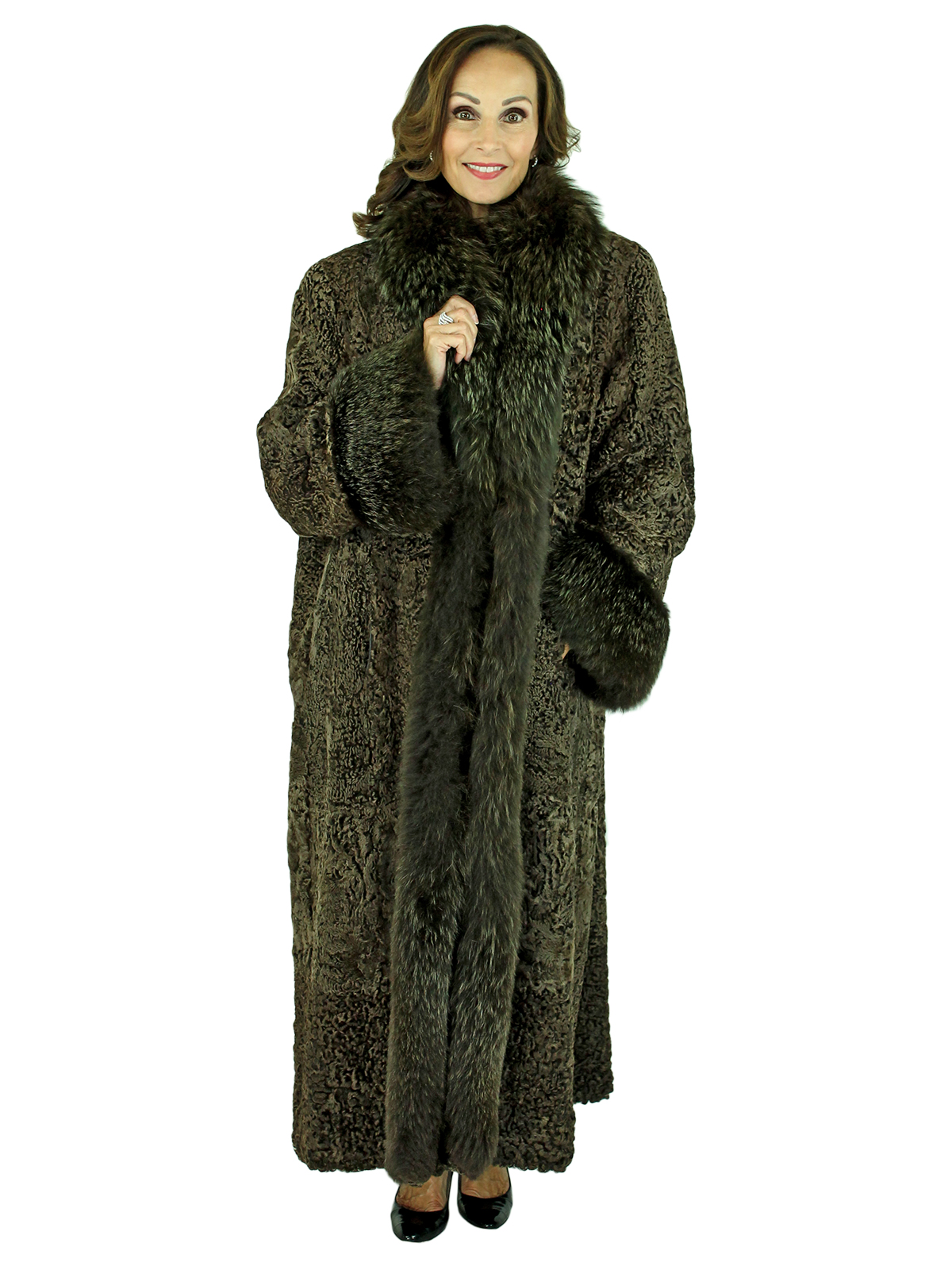 Woman's Brown Plus Size Persian Lamb Fur Coat with Fox Tuxedo Front and Cuffs