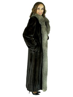 Woman's Deep Mahogany Female Mink Fur Coat with Indigo Fox Tuxedo Front