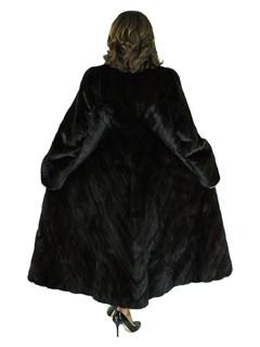 Woman's Darkest Mahogany Louis Feraud Female Mink Fur Coat with Directional Body