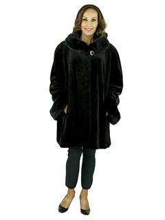 Woman's Plus Size Black Sheared Mink Fur Swing Stroller