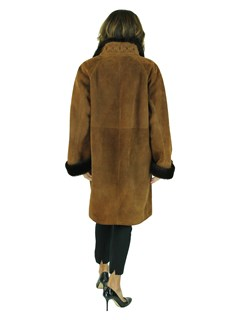 Woman's Christia Rust Colored Shearling Lamb Stroller with Dark Brown Fleece