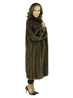 Woman's Mahogany Female Mink Fur 7/8 Coat