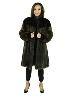 Woman's Medium Tone Beaver Fur Stroller with Sheared Beaver Yoke