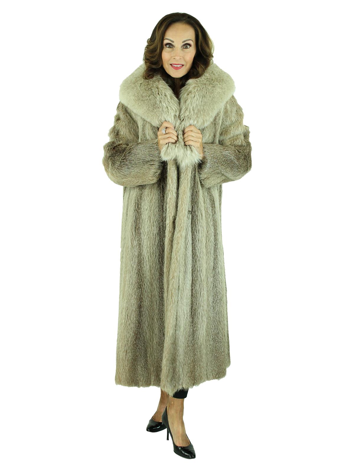 Woman's Vintage Nutria Fur Coat with Blush Fox Collar
