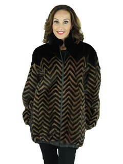 Woman's Two Tone Mink Fur Jacket Reversing to Black Leather