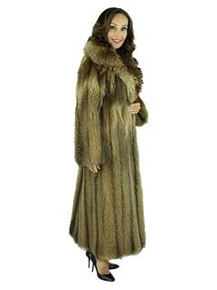 Woman's Natural Tanuki Fur Coat
