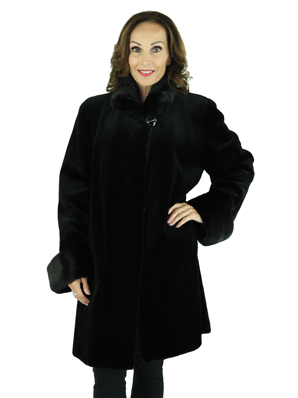 Woman's Black Sheared Mink Fur Stroller with Traditional Mink Trim