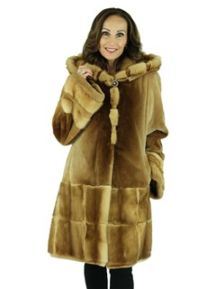 Woman's Whiskey Sheared Mink Fur Parka with Traditional Mink Trim