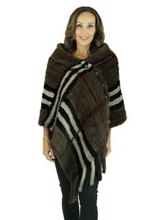 Woman's Mahogany Knit Mink Fur Wrap with Geometric Design