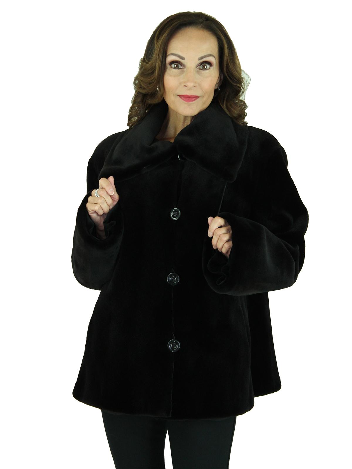 Woman's Black Sheared Mink Fur Jacket Reversing to Rain Fabric