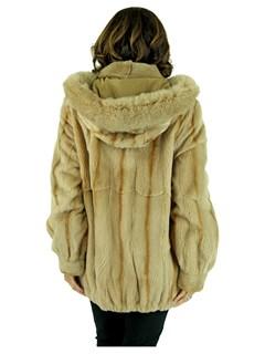 Woman's Beige Sheared Mink Fur Parka