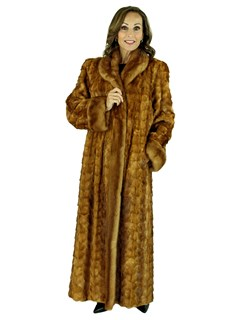 Woman's Whiskey Sculpted Mink Fur Coat