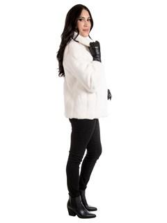Woman's White Female Mink Fur Jacket