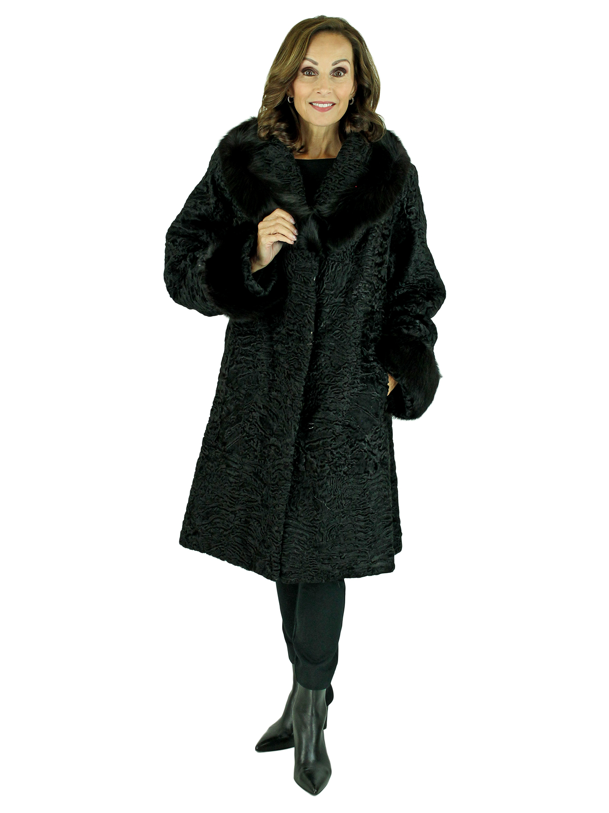 Woman's Black Persian Lamb Fur Stroller with Fox Collar and Cuffs