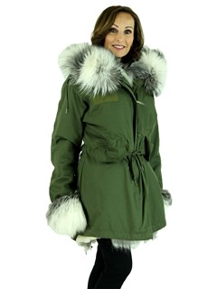Woman's Army Green Fabric Parka with Rex Rabbit Lining and Silver Fox Trim