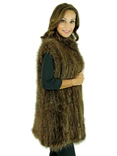Woman's Medium Tone Knit Long Hair Beaver Fur Vest