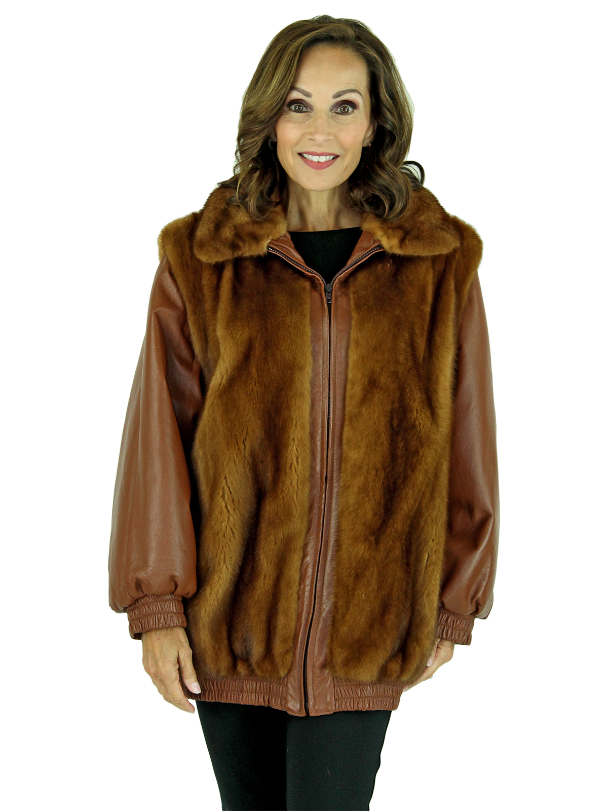Woman's Whiskey Mink Fur Jacket with Zip Out Leather Sleeves