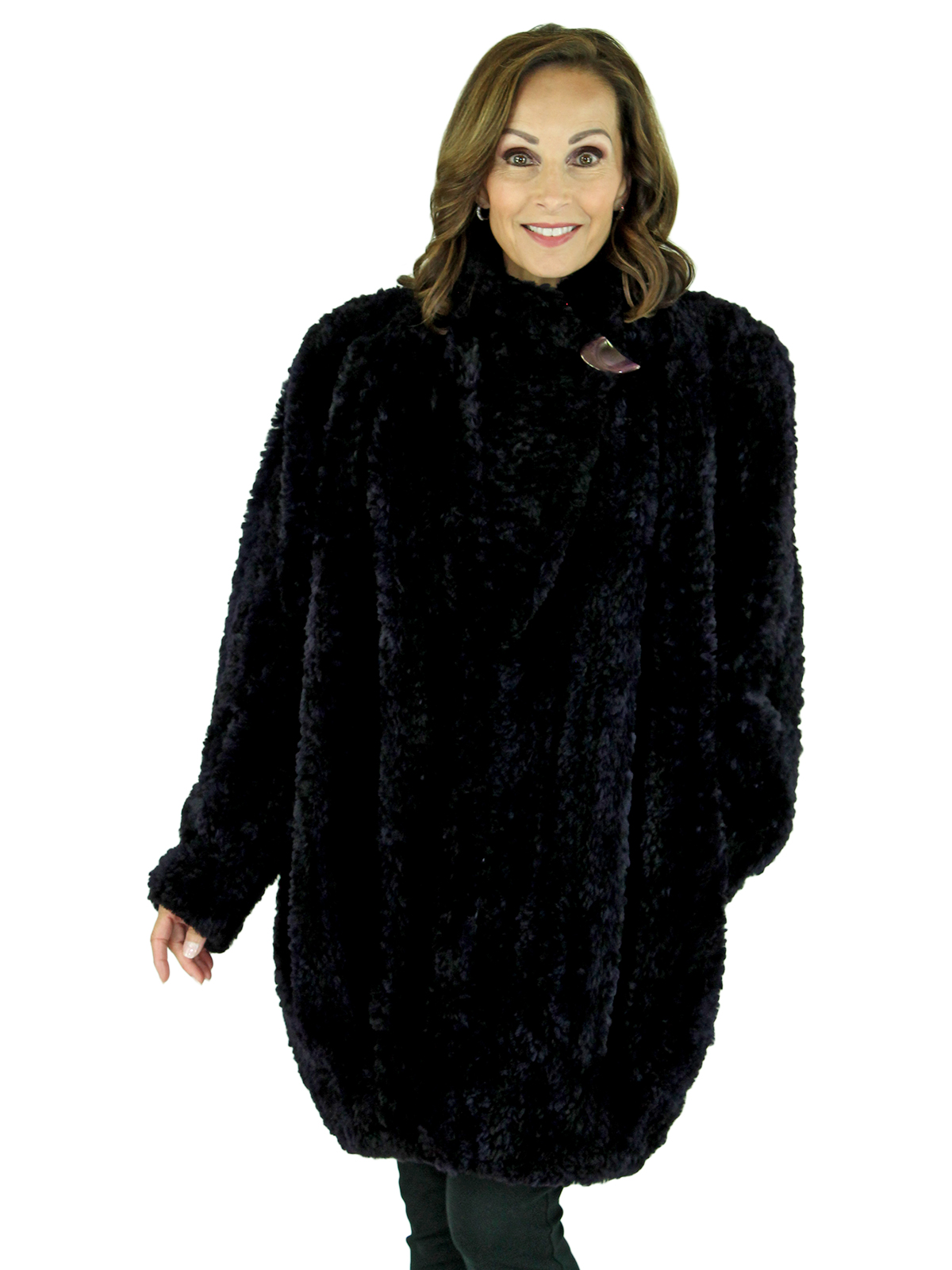 Woman's Lishman Deep Blue Purple Knit Sheared Beaver Fur Stroller