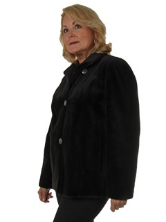 Woman's Dark Brown Sheared Mink Fur Jacket Reversible